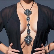 Dvacaman Brand 2017 Fashion Crystal Statement Body Jewelry Women Sexy Rhinestone Choker Necklace Harness Brassiere Jewelry DD28(China)