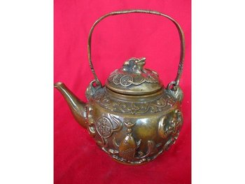 Rare Old Mingg Dynasty copper teapot,with carving&mark free shipping
