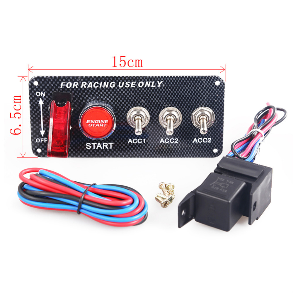 Racing Car 12v Ignition Switch Panel Engine Start Push Button Led How Do I Wire A Toggle And The Universal Auto Butt M2 In Tire Pressure Alarm From