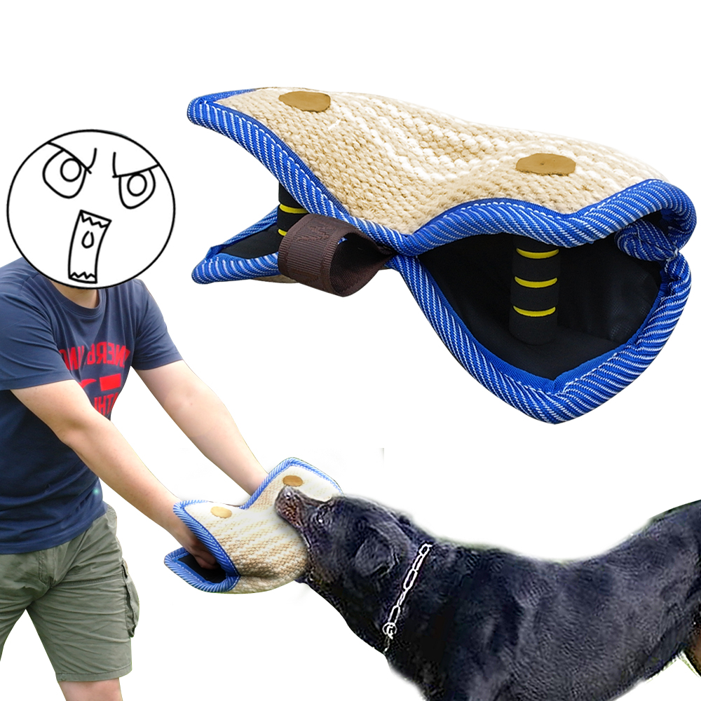 Dog Training Tug Toys: 2 Handles Dogs Bite Sleeve Jute Arm Protection Sleeve For