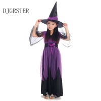 2017 New Halloween Costumes Witch Dress For Girl With Hat Cap Party Cosplay Dress Clothing Kids
