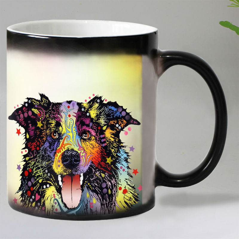 Free shipping Cute Pop art dogs Heat Reveal Coffee mug