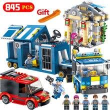 Городские полицейские правоохранительные ряды Грузовик Riot Tracking Thieves Enlighten Building Block Model Классические детские игрушки для детей