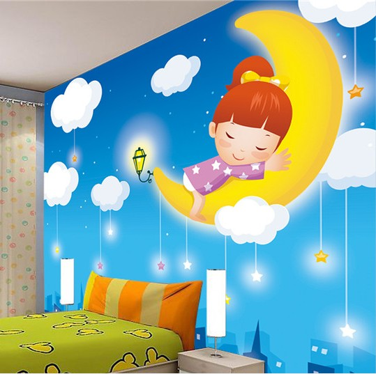 Custom 3D stereoscopic large mural wallpaper fabric wall paper cartoon moon children's bedroom wall painting boys and girls brooklyn black and white wallpaper mural photo wallpaper 3d mural large wall painting mural backdrop stereoscopic wallpaper
