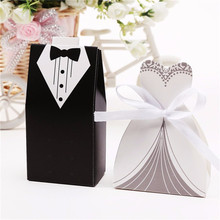 100PCS 50 Pairs Bridal Gifts Cases Bride Groom Tuxedo Dress Gown Ribbon Candy Sugar Box Wedding Favors Supplie Mariage Casamento