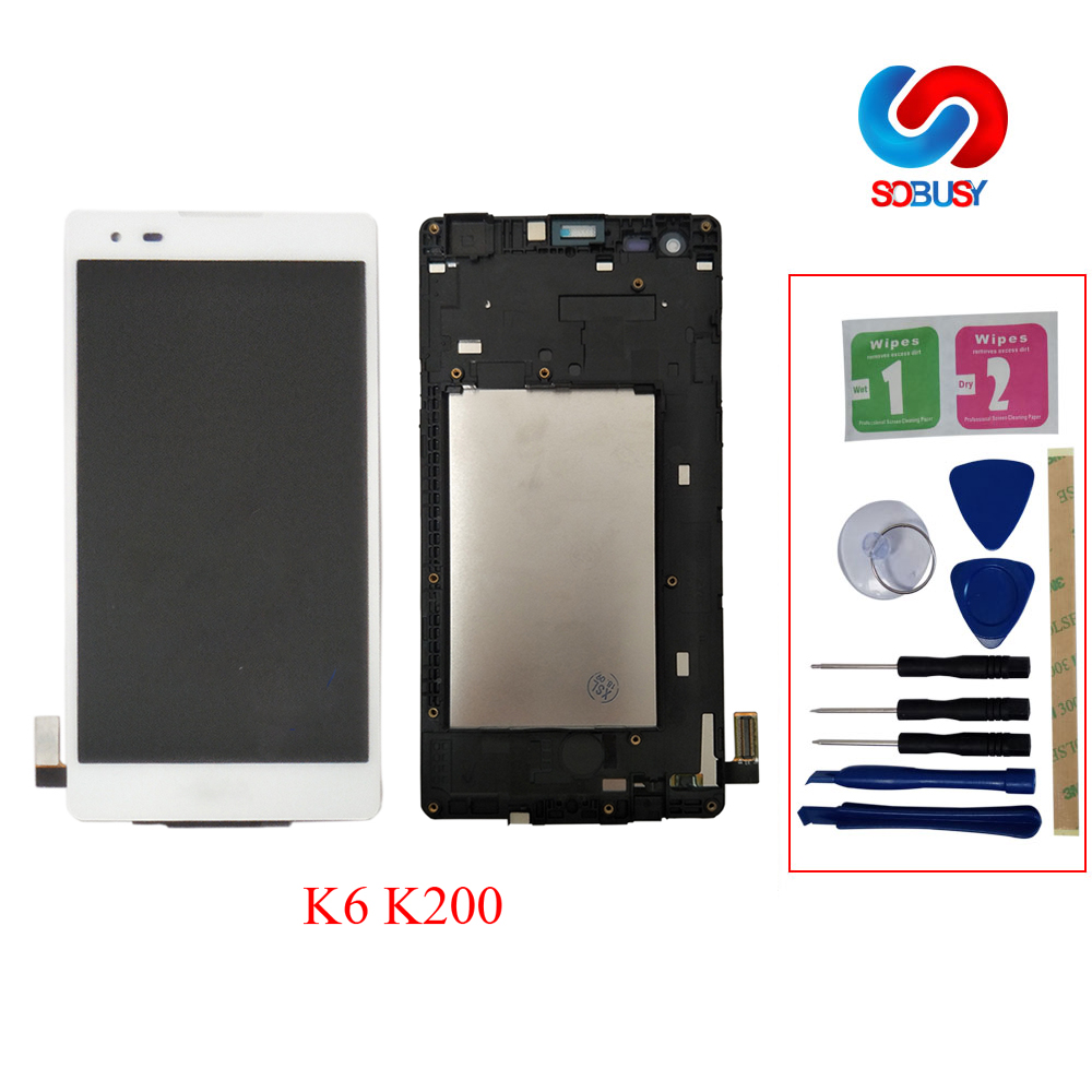 100% tested lcd For LG K6 Touch Screen LCD Display X Style K200 K200DSF K200F K200MT ecram Monitor Digitizer Assembly with Frame(China)