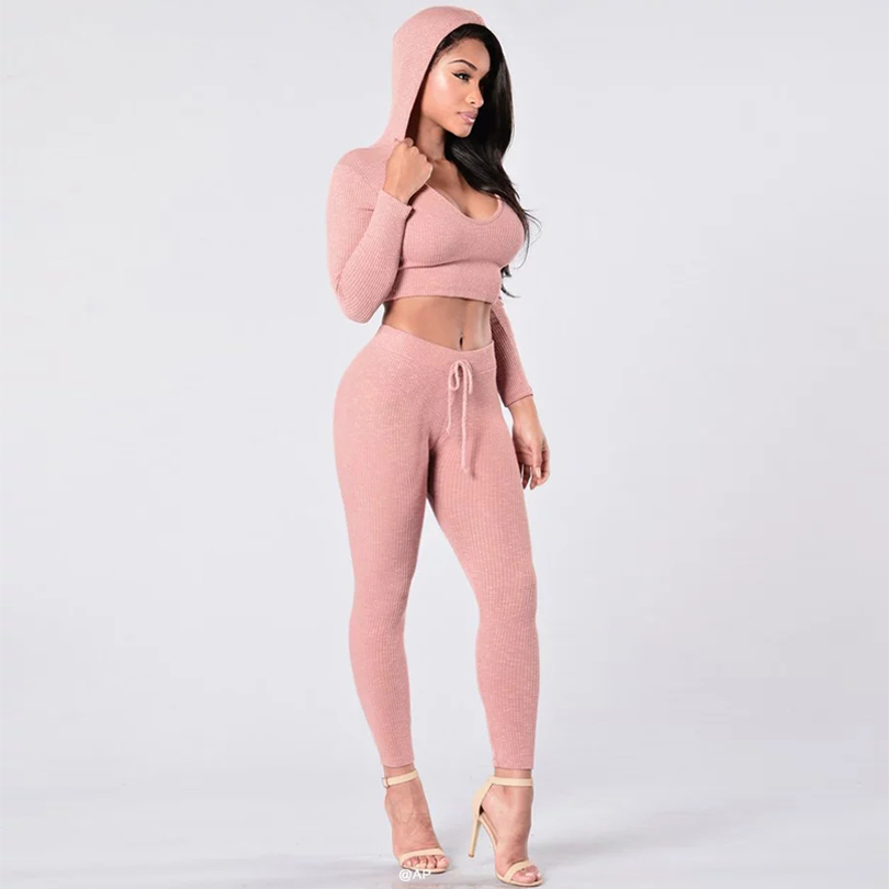 Tracksuit Women Sexy Ribbed Hoodies Set Casual Long Sleeve -6254