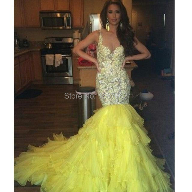 Luxury Lastest Yellow Mermaid Evening Dresses Spaghetti Straps Prom ...