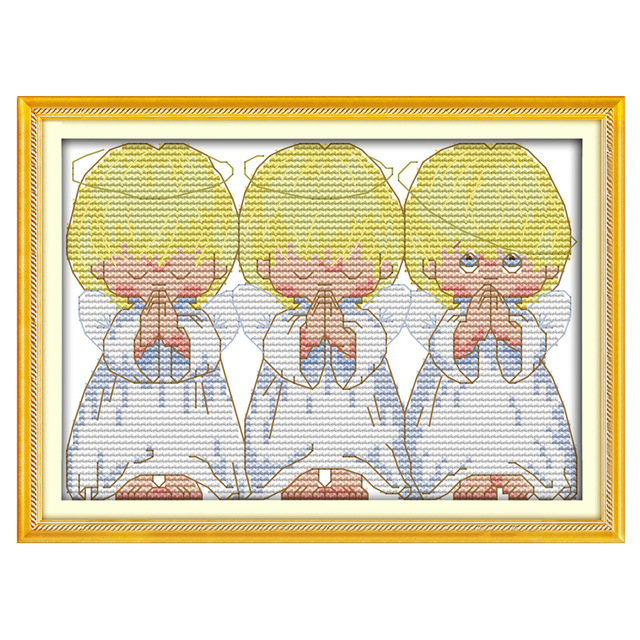OneroomWholesale Needlework,Stitch,11CT   14CT Cross Stitch,Sets For Embroidery Kits,The Pray Angels Counted Cross-Stitching