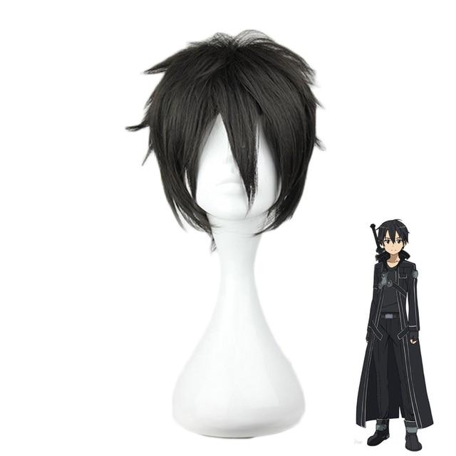 Anime Sword Art Online Kirigaya Kazuto Wig Cosplay Costume SAO Kirito Short  Black Synthetic Hair Halloween