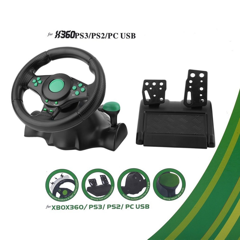 180 Degree Rotation Vibration Racing Game Steering Wheel With Pedals For XBOX 360 PS2 For PS3 Computer USB Car Steering-Wheel game steering wheel 270 degree wired controller gaming accessories with brake pedal for xbox360 for ps3 for pc