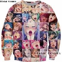 PLstar Cosmos Free Shipping Ahegao Collage Print Anime Sweatshirt Shy Girl Sexy Hoodies Men Women Casual