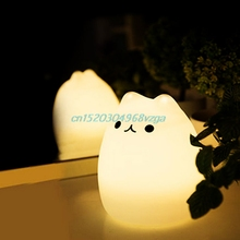Night Lights USB Cat LED Children Animal Night Light Silicone Soft Cartoon Baby Nursery Lamp Variable color #H028#