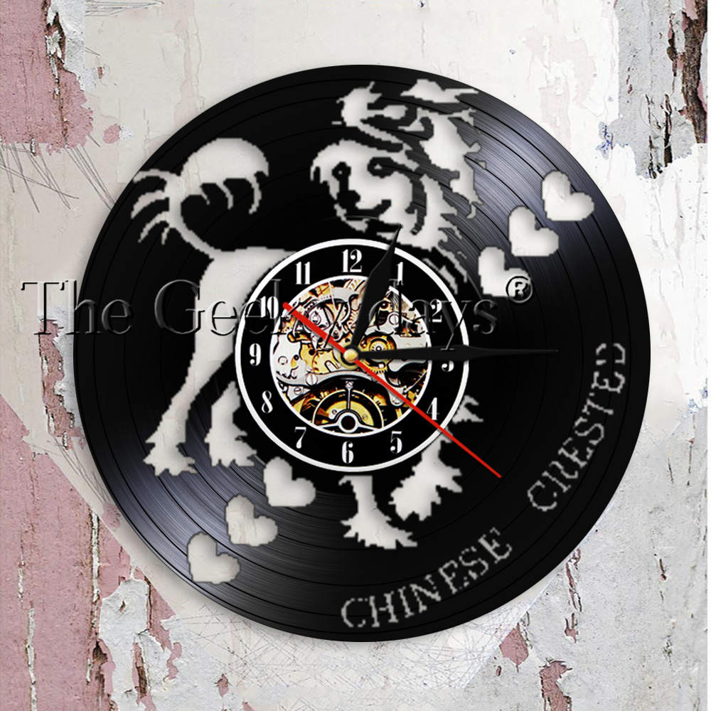 Chinese Crested Dog Modern Design Wall Clock Pet Shop Grooming Puppy Artwork Dogs Breed Vinyl Record Wall Clock Dog Lover Gift