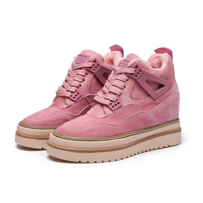 Semelle Sport Chaussures Coréenne De Femmes Nouvelle Épaisse 2018 Solide gris Automne Version Augmentation Noir Simple Couleur rose Mode Plat RwnO4q