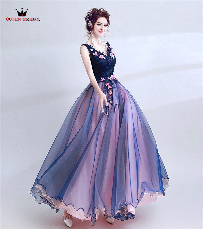 Purple Ball Gown Tulle Lace Flowers Pearls Vintage Elegant Long Formal Evening Dress Party Gowns Dress