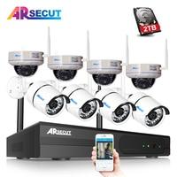 ARSECUT Wireless P2P 8CH 1080P NVR Kit CCTV System 8PCS Outdoor Waterproof 2MP IP Security NightVision Camera Surveillance Set