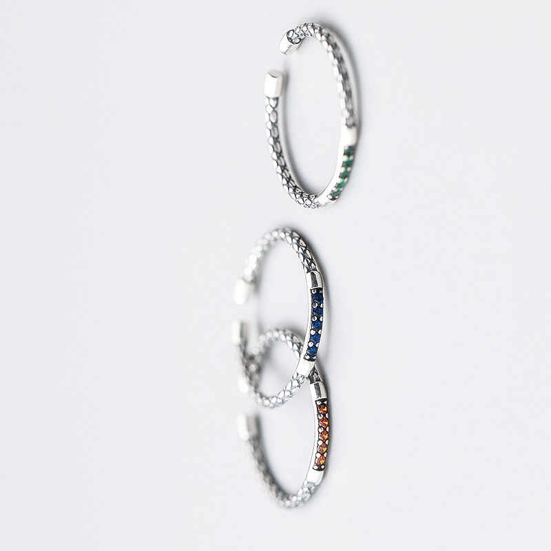 INZATT Minimalist เรขาคณิตรอบ Zircon แหวนเงินแท้ 925 เครื่องประดับสามสีสำหรับของขวัญ Party Party