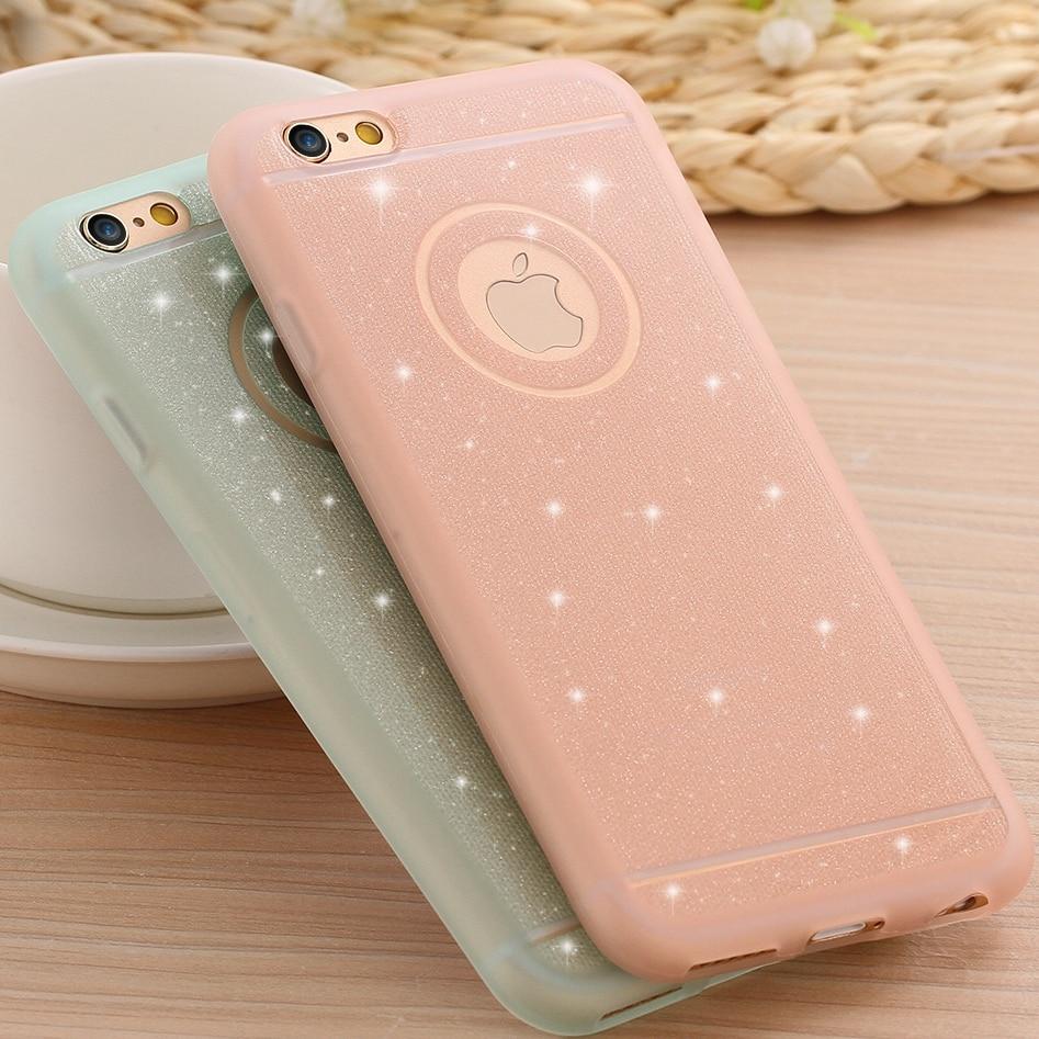 the latest e09b8 1a4e9 US $1.78 |Fashion Soft Silicone TPU Phone Cases For iPhone 5 5S SE 6 6S  Plus Ultra Thin Glitter Powder Back Cover Capa Skin Fundas EC809-in Fitted  ...