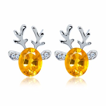 Luxurious Creative Crystal Antlers Earring