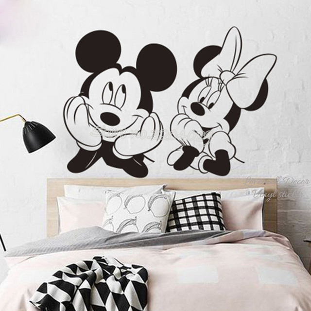 Cartoon Mickey Minnie Mouse Wall Decal Anime Animal Vinyl Removable Sticker  Nursery Children\'s bedroom Pegatina de pared EA686-in Wall Stickers from ...