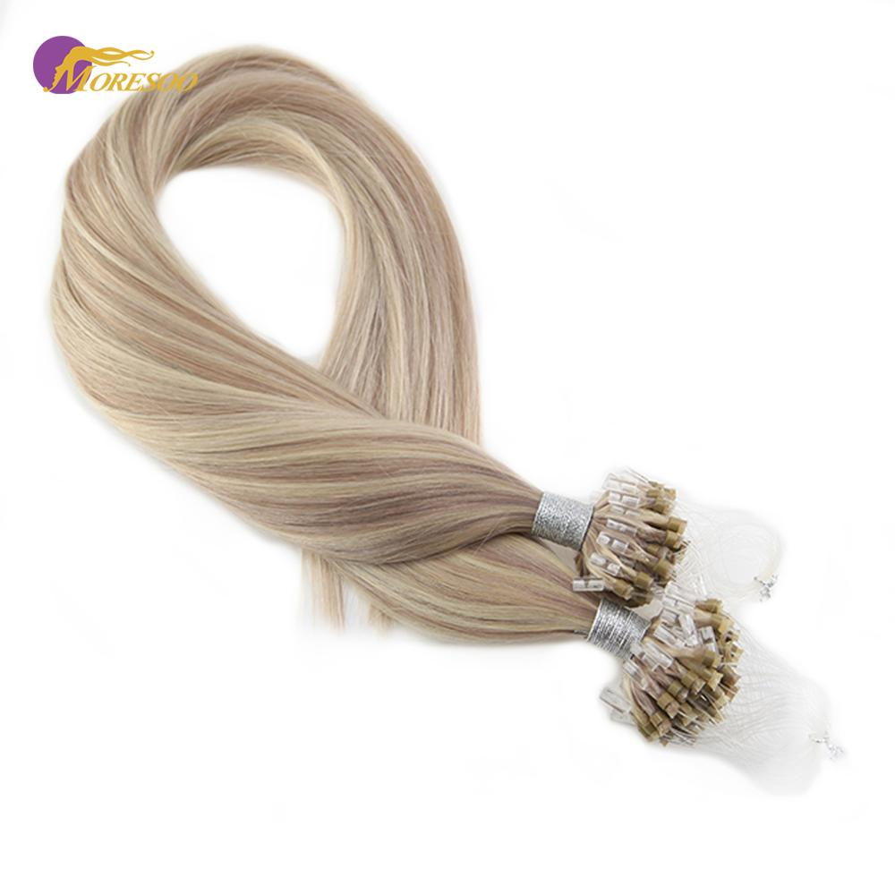 Moresoo Human Hair Micro Link Hair Extensions Blonde #P18/613 Micro Ring Bead Remy Brazilian Hair 1g/s 50G 16-24 Inch