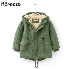 新しい冬の子供ダウン & パーカー 2 9Yヨーロッパスタイル暖かい上着の色グリーンブルーフード付きのコート