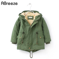 2018 New winter children down & parkas 2 8Y European style boys girls warm outerwear color green blue hooded coats for girls