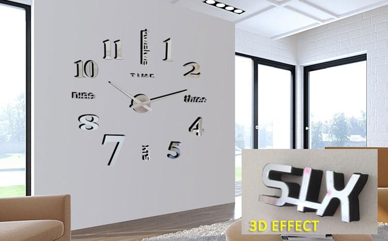 Modern DIY Analog 3D Mirror Surface Large Number Wall Clock Sticker