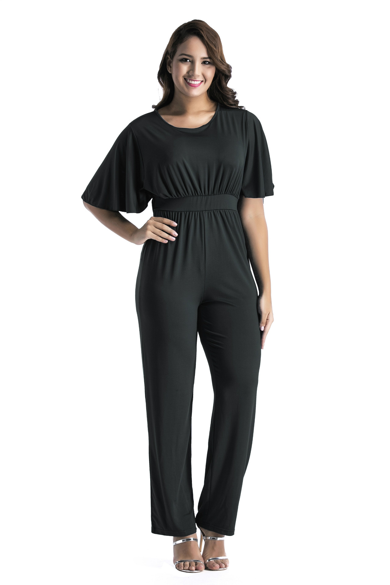 Loose Casual  Womens Solid Jumpsuit Romper Ruffles Solid Wide Leg Playsuit Women O Neck Short Sleeve Oversized Women Clothing
