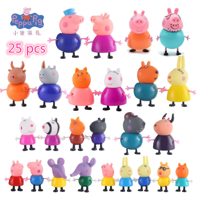 Peppa Pig Little George Mom Dad Grandparents And Friends Action Figure Original Peruvian Toy Child Birthday / Christmas Gift