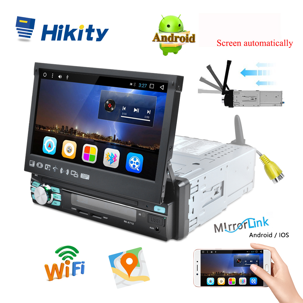 Hikity 1 din Car Radio Player Auto Retractable Touch Screen Android GPS Wifi Car Multimedia MP5 Player IOS/Android Mirror Link(China)