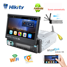 Hikity 1 din автомобильный Радио плеер Авто Выдвижной сенсорный экран Android GPS Wifi Автомобильный мультимедийный MP5 плеер IOS/Android Зеркало Ссылка