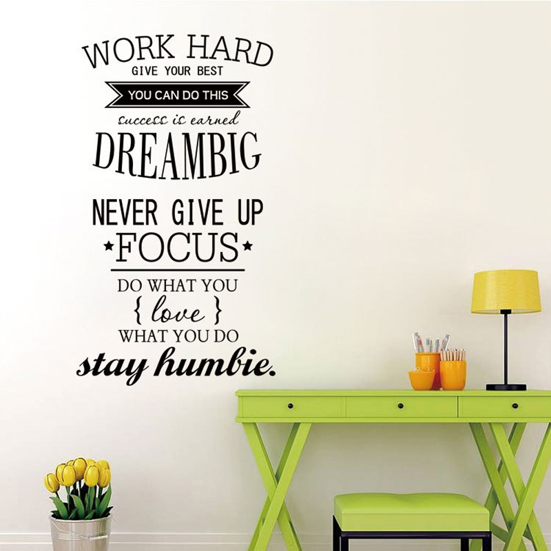 2016 new design wall decals quotes work hard vinyl wall sticker letras decorativas office home decoration - Design Wall Decal