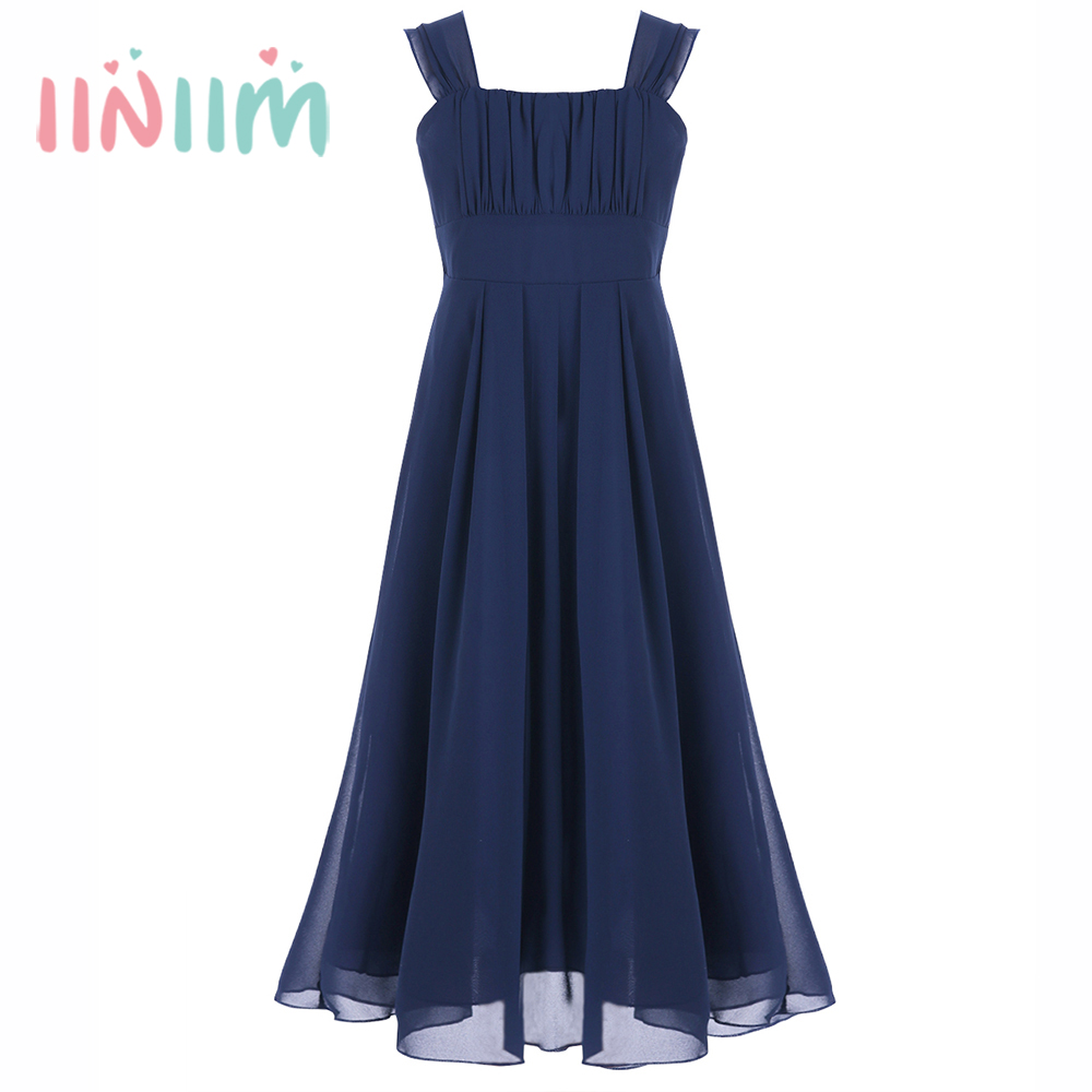 Brand Formal Brief Girls Dress Children's Clothes Chiffon Princess Wedding Ruched Shoulder Dress Kids Wedding Party Long Dresses long criss cross open back formal party dress