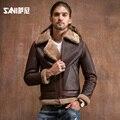 Moda Masculina de estilo de piel de oveja chaqueta de Moto para hombre abrigo de piel de oveja Genuina abrigo de piel de invierno para hombre abrigo de piel natural envío gratis