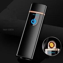 2018 新 Led スクリーンバッテリー表示 USB ライター充電式電子ライター Winderproof フレームレス両面シガープラズマ