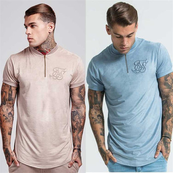 2019 men's summer cotton silk siksilk velvet cloth T-shirt hip-hop irregular cut zipper T-shirt top men's Longline T-shirt with