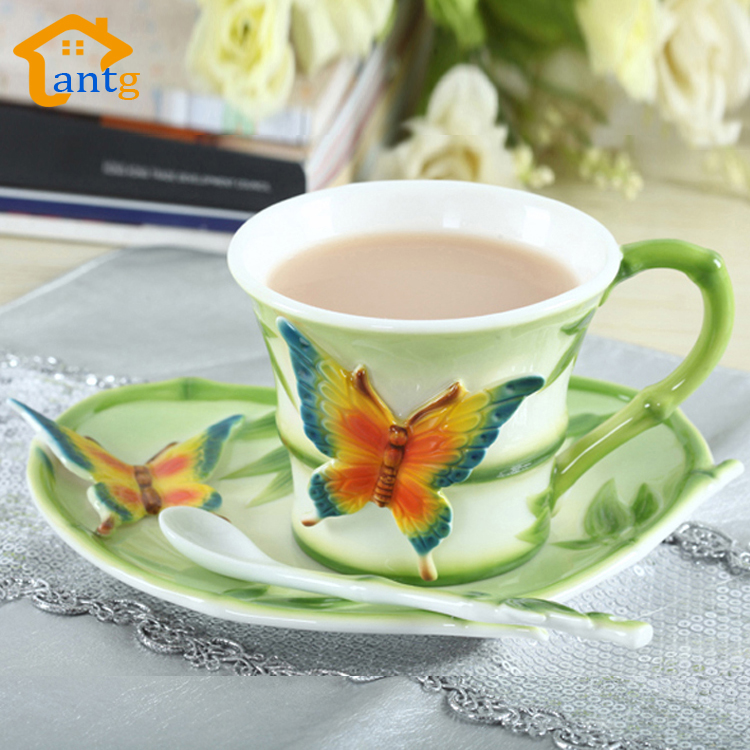 Enamel Porcelain Coffee cup Creative European home decoration mugs Consist of Pastoral butterfly bamboo for friend