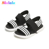 Summer soft girls sandals baby boys sandals kids beach shoes children breathable shoes for toddler striped elastic 3 to 12 yrs