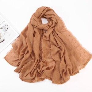 Image 5 - Women Cotton Voile Scarf Pleated Square Blocks Plain Shawl Muslim Tudung Muslim Hijab Scarves Head Scarf Wraps