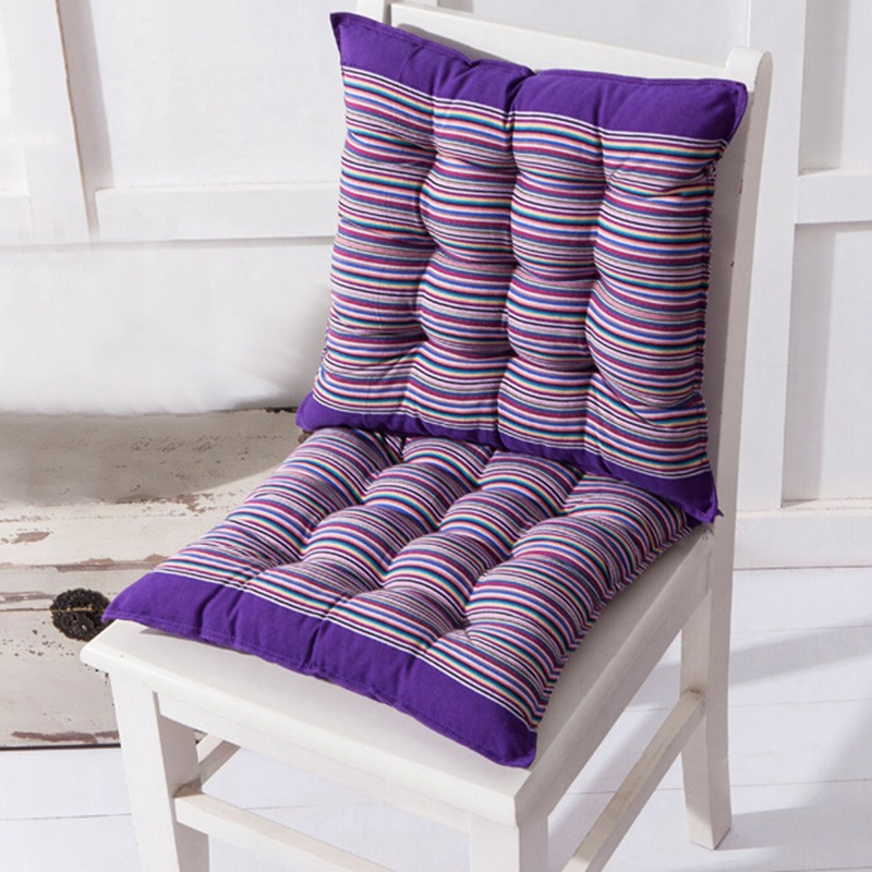 Striped Chair Cushion Soft Square Seat Pads Back Cushion