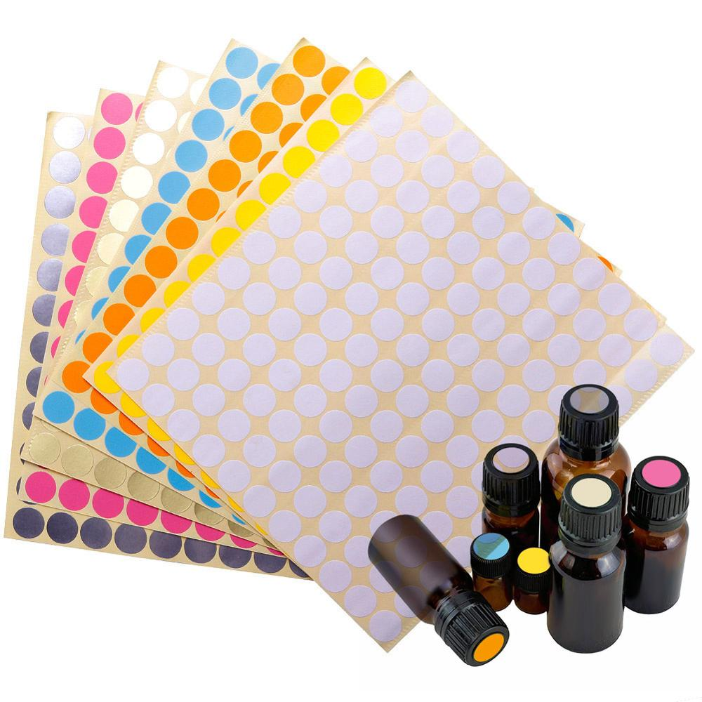 132pcs/Sheet Colorful Paper Sticker Labels Glass Essential Oil Bottle Cap Lid Labels Blank Round Circles Stickers #281572
