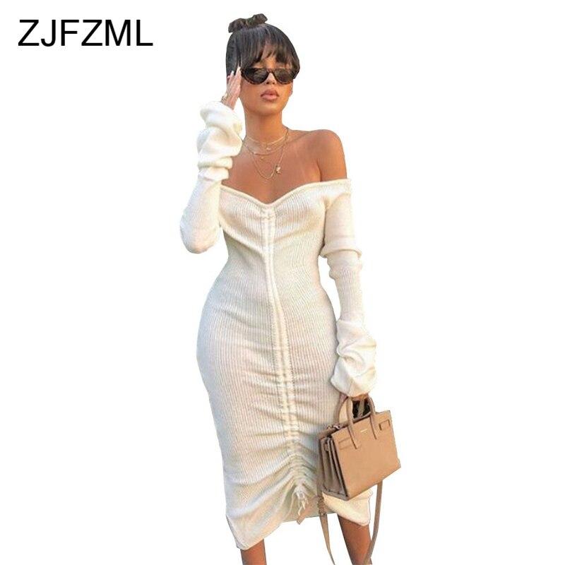 ZJFZML Long Sleeve Slash Neck Solid Color Sexy Bandage Dress Women Drawstring Maxi Bodycon Dresses 2018 New Fashion Club Vestido
