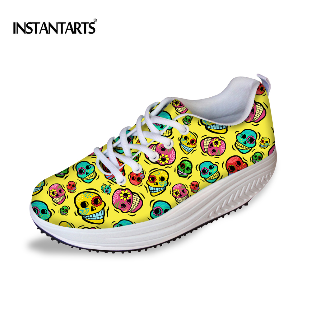 INSTANTARTS 2018 Spring Women Flats Platform Shoes Cute Skull Puzzle Printing Female Swing Shoes Sneakers Increasing Height Shoe instantarts fashion girls spring autumn flats shoes cute havanese flower pattern female mesh flats shoes casual light sneakers