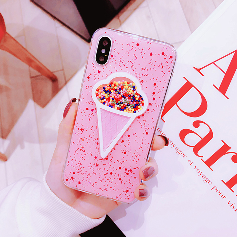 Pink ICECREAM Style Full Protective Bling Glitter 6 6S Case For iPhone 7 8 PLUS TPU Cover for iPhone X 6S Plus