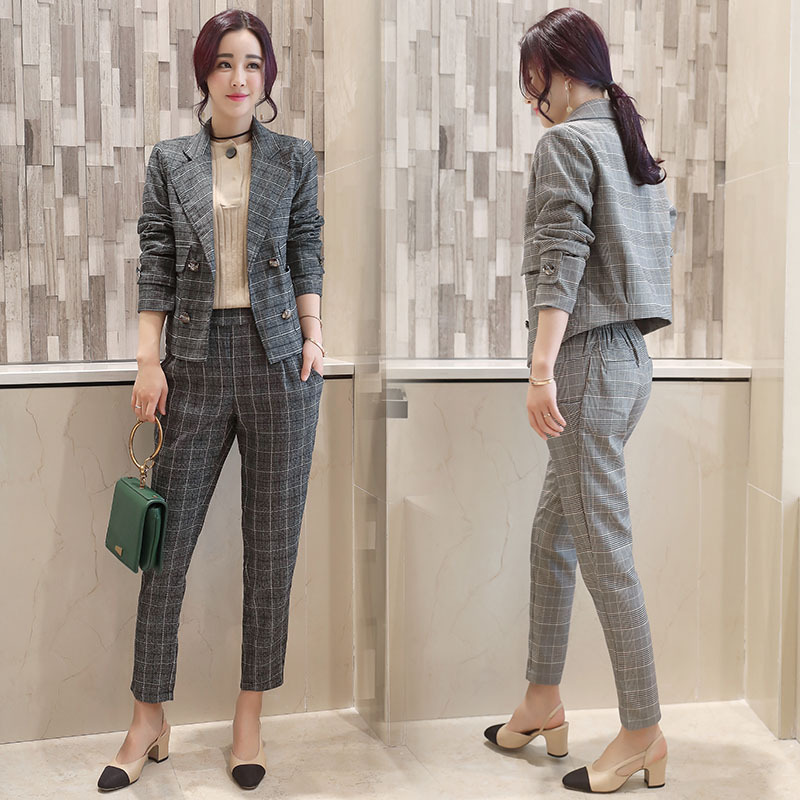 ceaf117b82d3 RG Women Two Piece Set Office Suit Double Breasted Black White Long Jacket+Pant  Suits Business Work Wear Suit Spring ...
