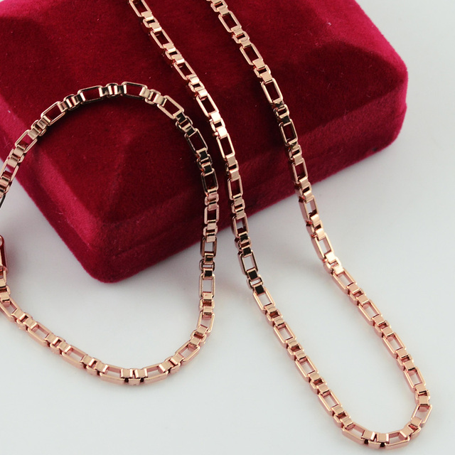 Trendy Men Womens Jewelry Set Rose Gold Filled Chain Link Box