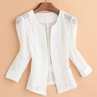 plus size 4XL!Women Slim Lace three quarter sleeve Thin Light Stitching Small Suit Business ol Blazers