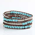 New Quality Boho Mixed Leather Natural Turquoise Bead Bracelet for Women and Men Handmade Friendship Bracelets Gift Jewelry